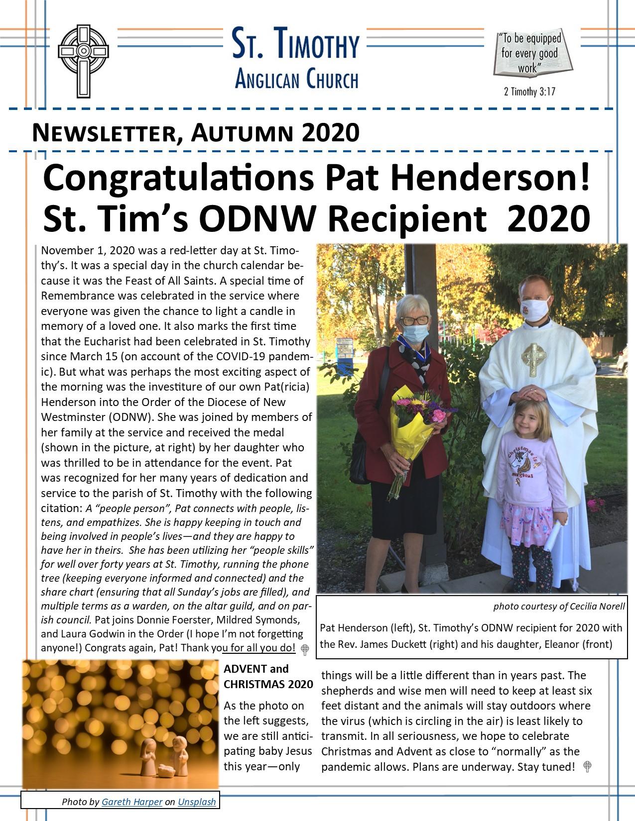 Newsletter: Autumn/Winter 2020